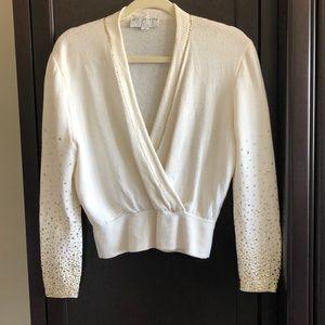 St. John cream w/gold metal design knit sweater